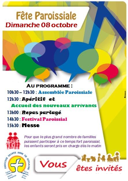 FETE PAROISSIALE - Dimanche 08 octobre - 10h30-17h - Salle Paul Bouin à Basse Goulaine
