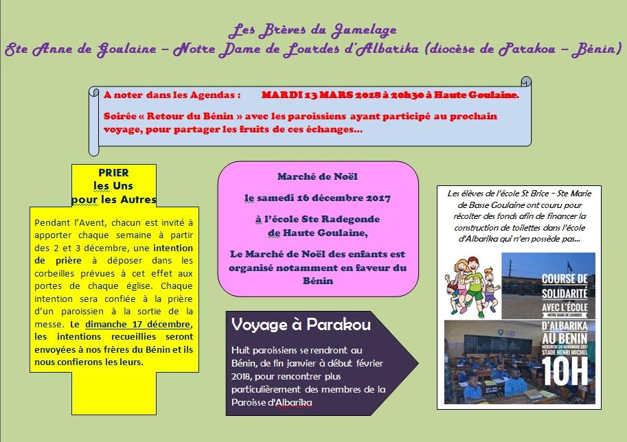 Jumelage avec la Paroisse ND de Lourdes d'Albarika (diocèse de Parakou - Bénin)