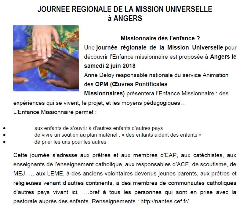 JOURNEE REGIONALE DE LA MISSION UNIVERSELLE à ANGERS